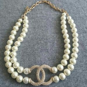 CHANEL CC Logo Pearl Gold Pave Crystal Necklace